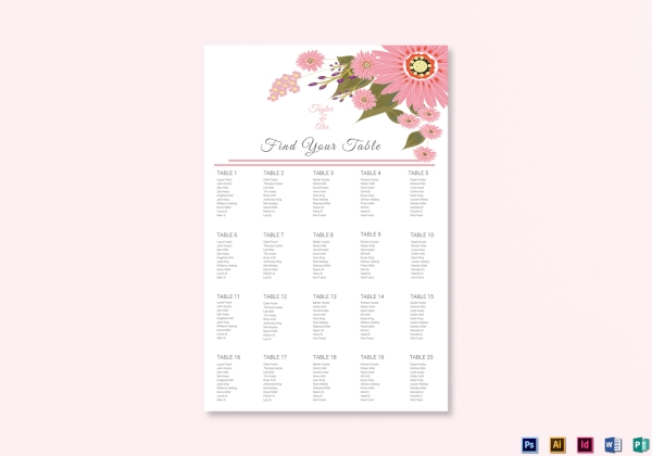 simple floral wedding seating chart