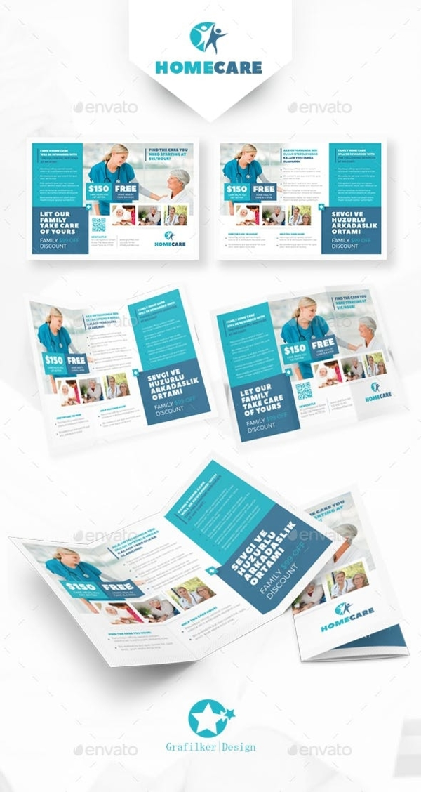 simple home care trifold brochure