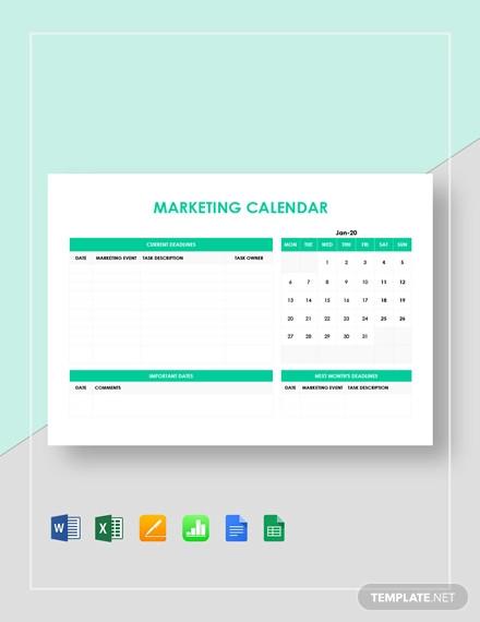 simple marketing calendar template