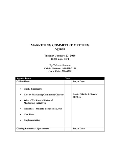 simple marketing committee meeting agenda