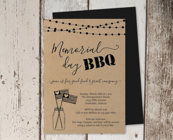 simple memorial day bbq party invitation
