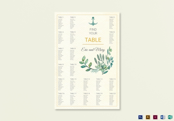 simple nautical wedding seating chart