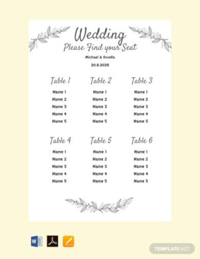 simple printable wedding seating chart