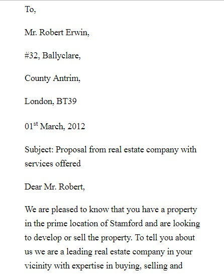simple real estate proposal letter