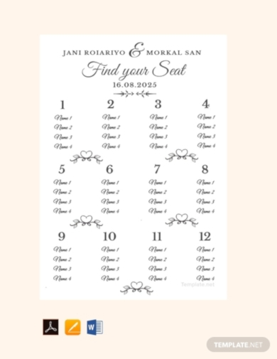 simple sample wedding seating chart