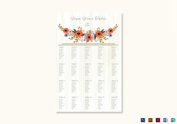 simple summer floral wedding seating chart
