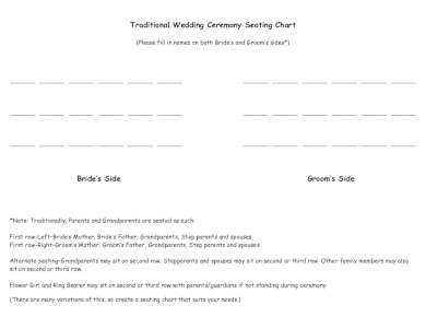simple traditional wedding ceremony seating chart
