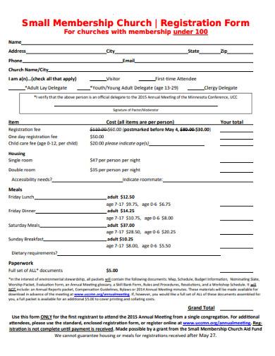 small membership church registration form