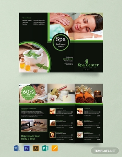 spa center trifold brochure