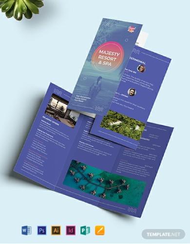 spa resort tri fold brochure