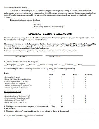 special event evaluation
