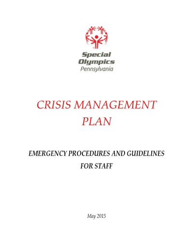 special olympics pennsylvania crisis management plan