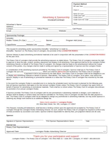 sponsorship invoice contract