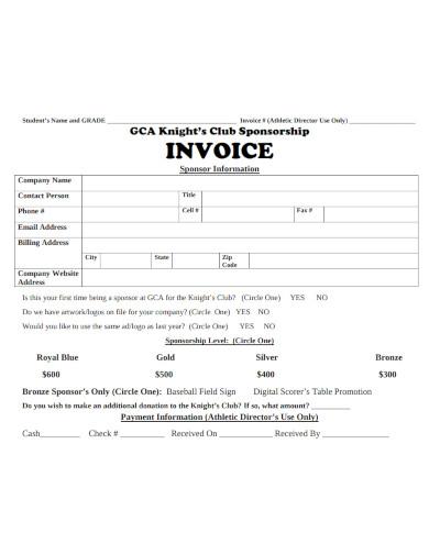 sponsorship invoice information