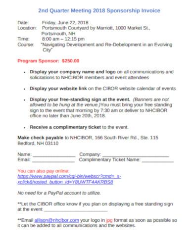 sponsorship invoice program