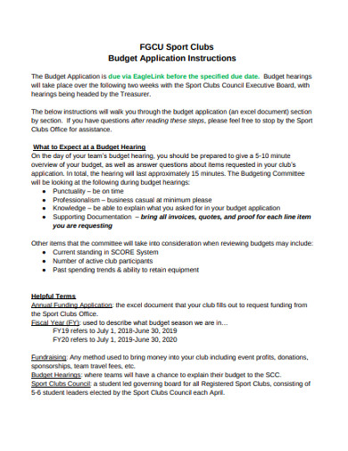 sport clubs budget application instructions