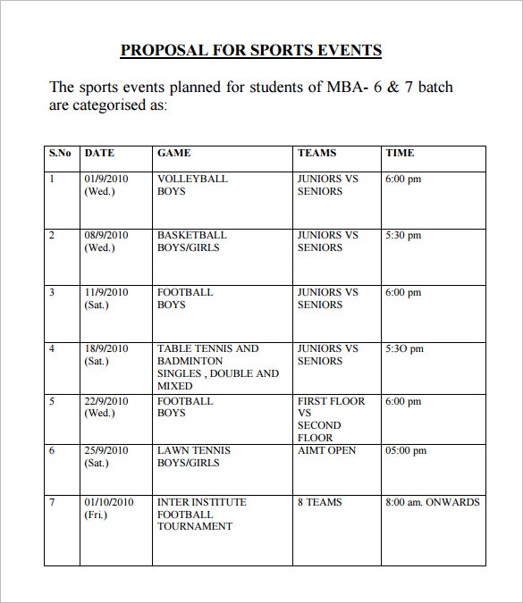 sports event proposal pdf format