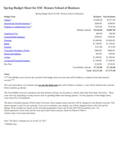 spring business budget sheet