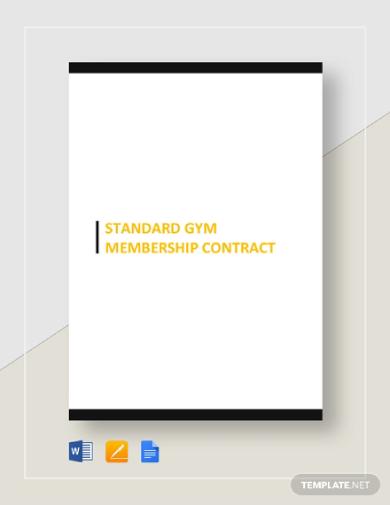 standard gym membership contract