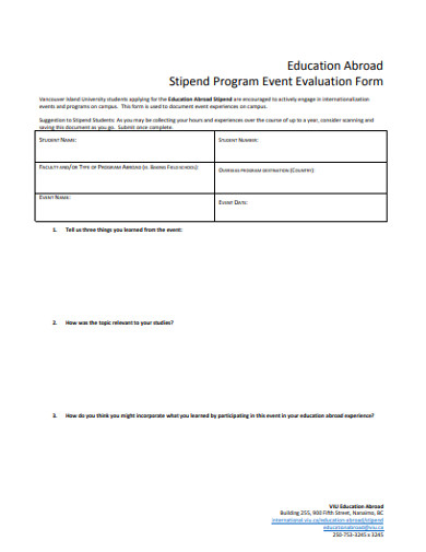stipend program event evaluation form