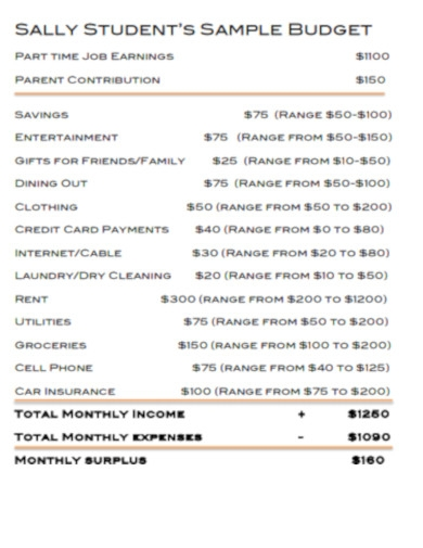 student's sample budget