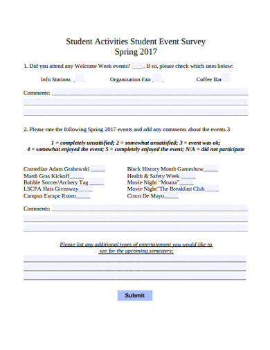 student activities student event survey