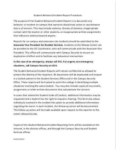 student behavior incident report procedure1