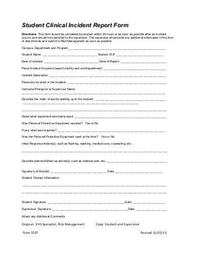 student clinical incident report form