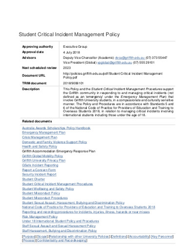 student critical incident management policy