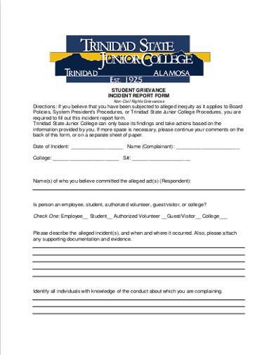 student grievance incident report form