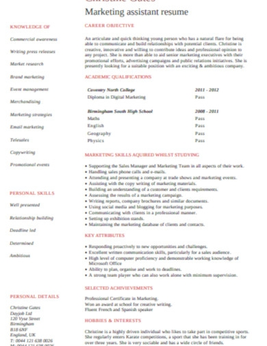 student marketing assistant resume cv