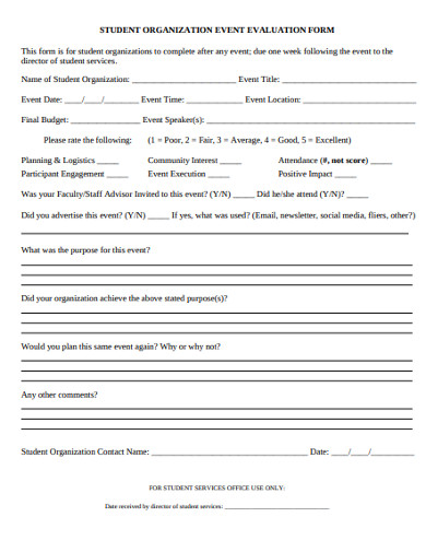 student organization event evaluation form