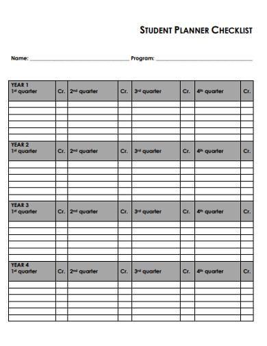 student planner checklist