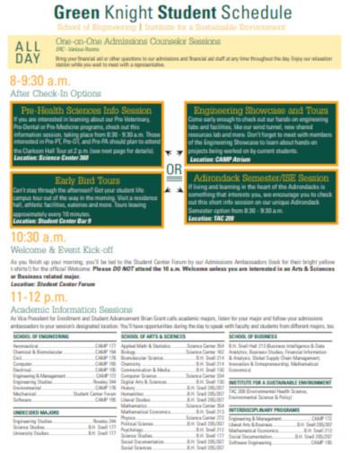 student schedule in pdf