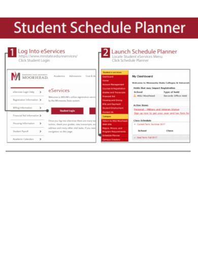 student schedule planner in pdf