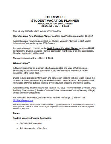 student vacation planner