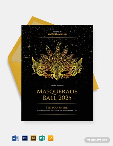 stunning masquerade ball invitation