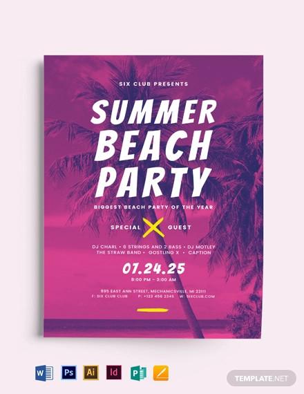 summer beach flyer template