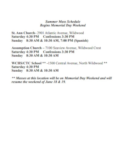 summer church mass schedule