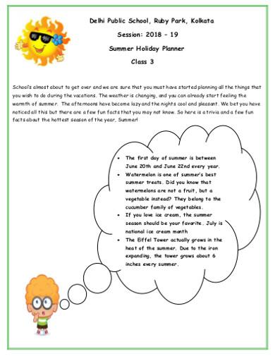 summer holiday planner