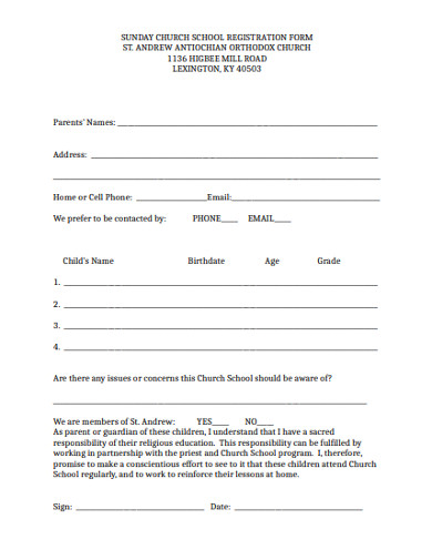 sunday church school registration form