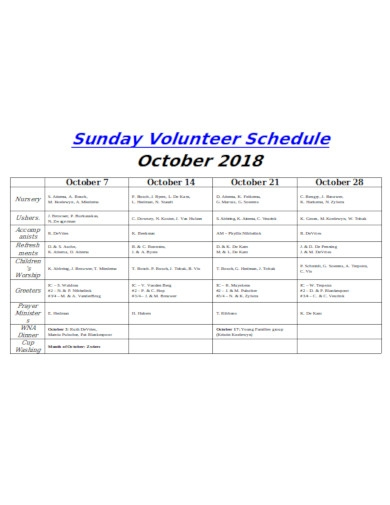 sunday volunteer schedule