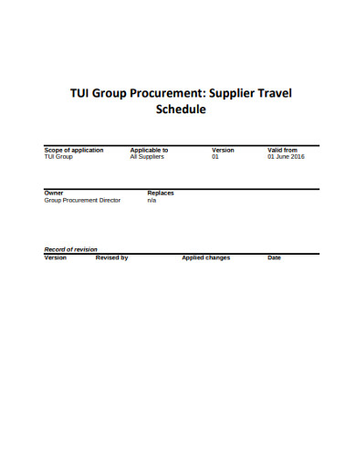 supplier travel schedule