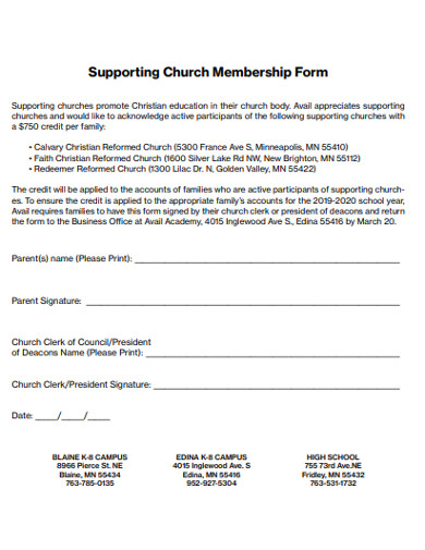 supporting church membership form