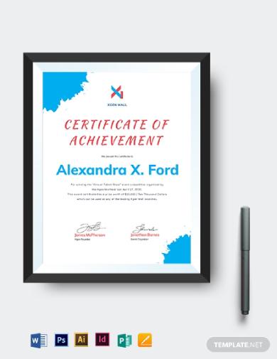talent show certificate of achievement