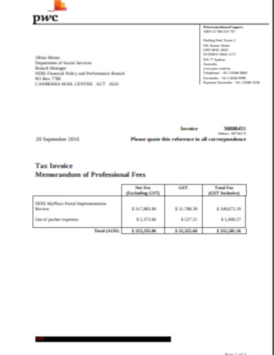 tax invoice for professional fees