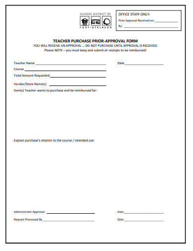 teacher purchase prior approval form