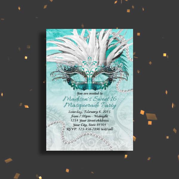 teal masquerade ball invitation