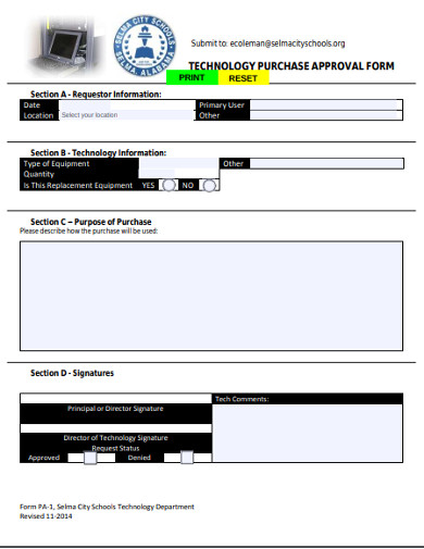 technology purchase approval form
