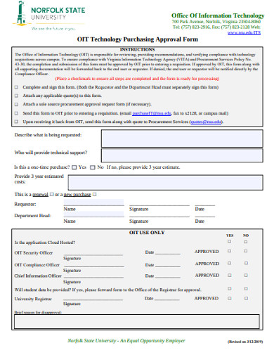 technology purchasing approval form